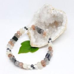 Bracelet double de Pierre de lune, Hématite, Cristal de roche