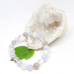 Bracelet de Calcedoine bleue, Pierre de lune, Cristal de roche
