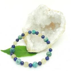 Bracelet de Chrysocolle, Lapis Lazuli, Quartz rutile