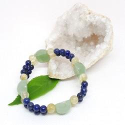 Bracelet double d'Aventurine verte, Lapis Lazuli, Quartz rutile