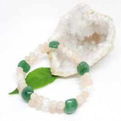 Bracelet double d'Aventurine verte, Aventurine rose, Cristal de roche