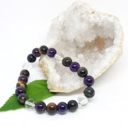 Bracelet - Améthyste, Œil de faucon et Cristal de roche