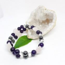 Bracelet double - Quartz rose, Améthyste et Cristal de roche