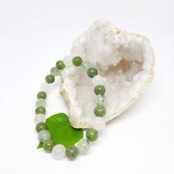 Bracelet de Jade, Prehnite et Quartz rose