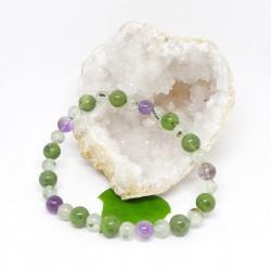 Bracelet - Jade, Prehnite et Améthyste
