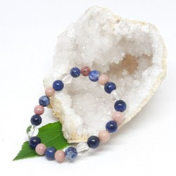 Bracelet - Sodalite, Rhodonite et Cristal de roche