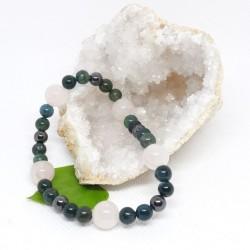 Bracelet - Jaspe vert, Quartz rose et Hématite