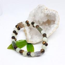 Bracelet double - Agate mousse, Serpentine et Œil de tigre