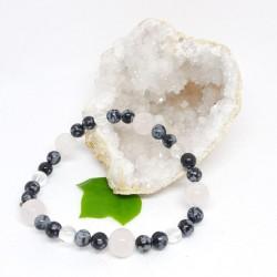 Bracelet - Obsidienne neige, Quartz rose et Cristal de roche