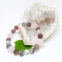 Bracelet - Agate du Botswana, Quartz rose et Cristal de roche