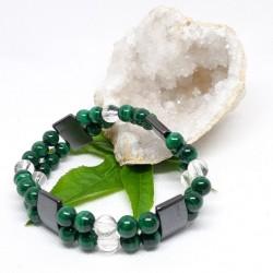 Bracelet double - Malachite, Hématite aimantée, Cristal de roche