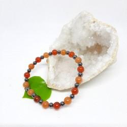 Bracelet - Cornaline, Aventurine orange, Hématite