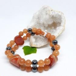 Bracelet double - Cornaline, Aventurine orange et Hématite