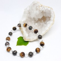 Bracelet - Rhodonite, Œil de tigre et Cristal de roche