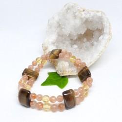 Bracelet double - Pierre de soleil, Citrine, Œil de tigre