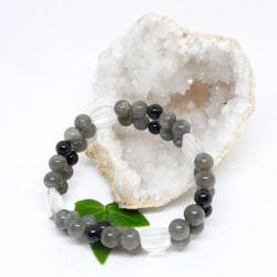 Bracelet double - Labradorite, Tourmaline noire et Cristal de roche