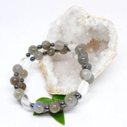 Bracelet double - Labradorite, Cristal de roche et Hématite