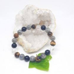 Bracelet - Labradorite, Tourmaline noire, Œil de tigre et Cristal de roche