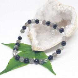 Chevillère - Labradorite, Tourmaline noire et Cristal de roche