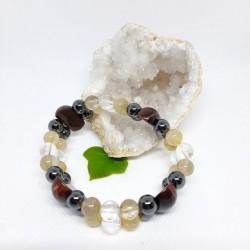 Bracelet double - Quartz rutile, Oeil de taureau, Hématite et Cristal de roche