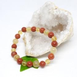 Bracelet de Citrine, Jaspe rouge, Quartz rutile