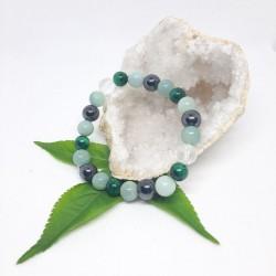 Bracelet de Malachite, Amazonite, Hématite aimantée, cristal de roche