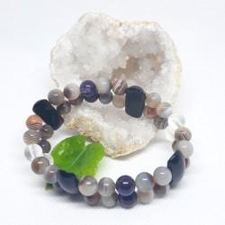 Bracelet double d'Onyx noire, Agate du Botswana, Cristal de roche