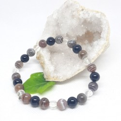 Bracelet d'Onyx noire, Agate du Botswana, Cristal de roche