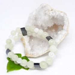 Bracelet double de Serpentine, Hématite aimantée, Cristal de roche