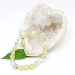 Bracelet enfant de Calcite jaune, Préhnite et Cristal de roche