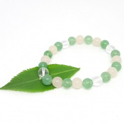 Bracelet enfant d'Aventurine verte, Aventurine rose et Cristal de roche